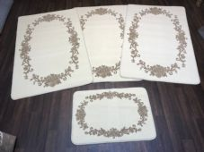 ROMANY GYPSY WASHABLES 2019 FULL SET OF 4 MATS/RUGS ROSES CREAM/BEIGE NON SLIP